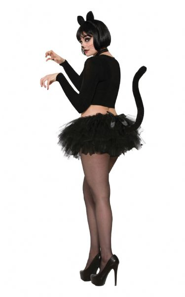 Ladies Cat Tutu Black w/Tail Feline Pussy Pet Animal Fancy Dress